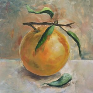 Still life of an orange by artist Michael Statham
