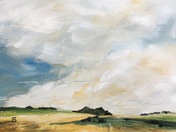Landscape in oil paint on board by artist Michael Statham